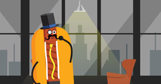 A picture of a hot dog with a top hat.