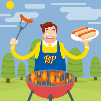 An illustration of a man grilling hot dogs.