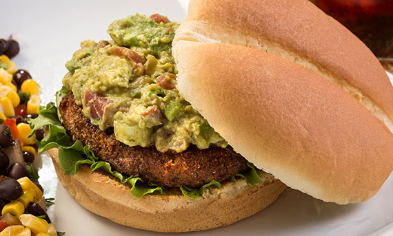 Ball Park's Guacamole Turkey Burger, served with a corn and bean salad