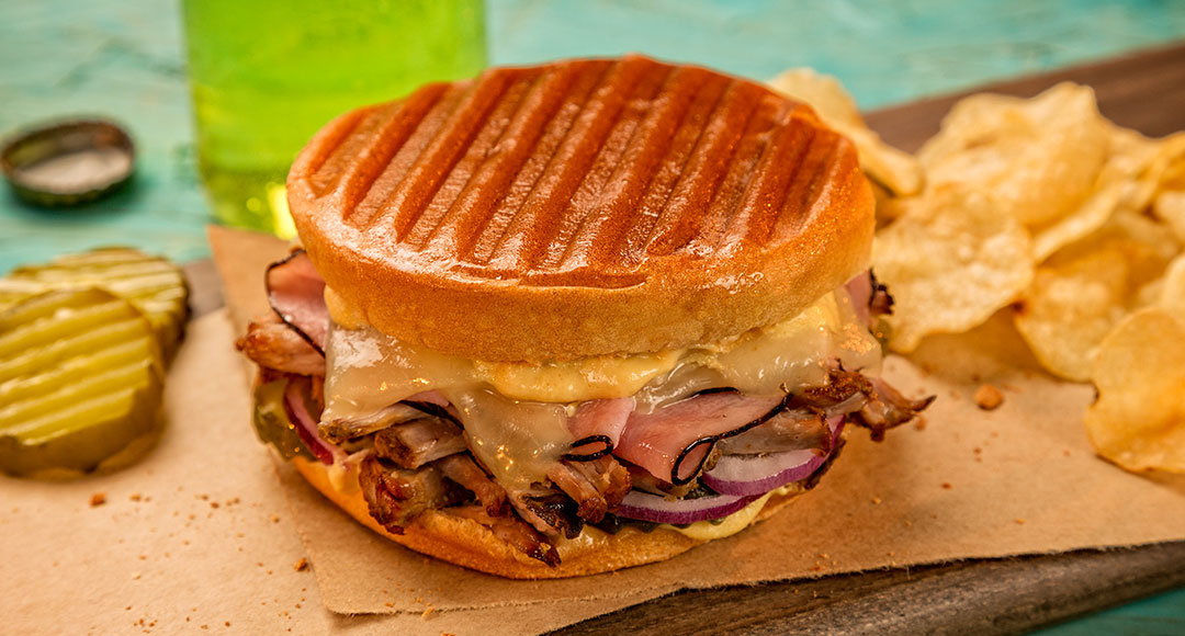 Ball Park's Grilled Cuban Bunini Sandwich, served with potato chips