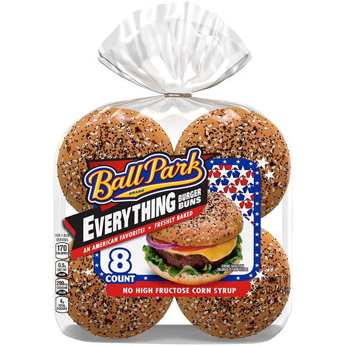 An 8-count package of Ball Park Everything Buns