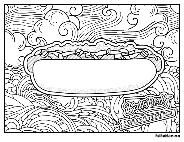 Hot Dog Coloring Sheet
