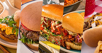 A photo collage of recipes using hot dog buns and hamburger buns